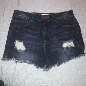 Fashion nova frayed denim high waisted shorts